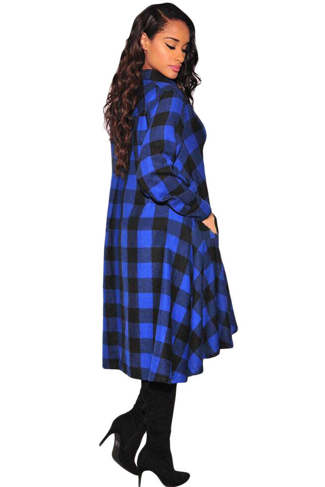 Plaid Flared High Low Shirt Dress - IBL Fashion - 2