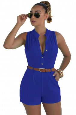 Diva Fashion Button Front Romper 64036 - IBL Fashion - 1