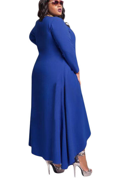 Plus Size DIVA Vee Neck Long Sleeve High Low Swing Dress - IBL Fashion - 3