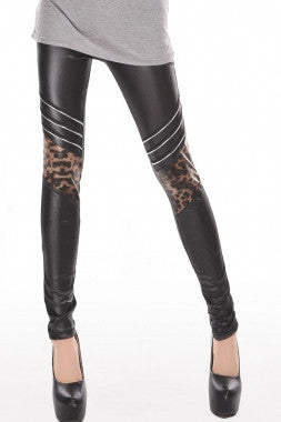 Chic Leopard Faux Leather Leggings - IBL Fashion - 1