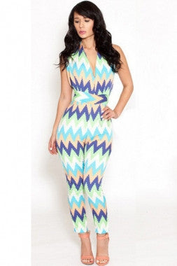 Colorblast Chevron Print Backless Jumpsuit  LC6420 - IBL Fashion - 1