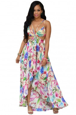 Floral Multi-Color Floral Maxi Dress - IBL Fashion - 1