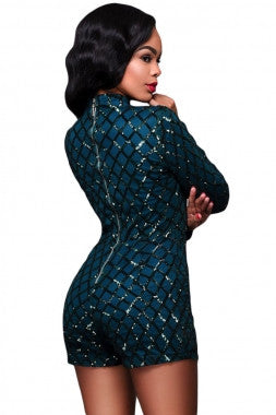 Diamond Sequins Long Sleeves Romper 64189 - IBL Fashion - 5