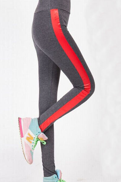 Yoga Pants with Leatherette Side Panel - IBL Fashion - 5