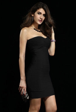 Celebrity Style Bandeau Bandage Dress with Pleat-Black - IBL Fashion - 2