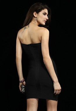 Celebrity Style Bandeau Bandage Dress with Pleat-Black - IBL Fashion - 3