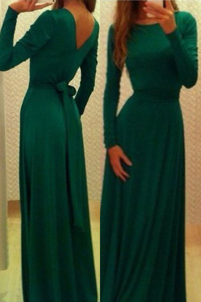 Classic Emerald Belted V Back Maxi Dress - IBL Fashion