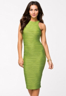 Racer Top Textured Bodycon Dress-Green 6510-1 - IBL Fashion - 1