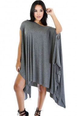 Sexy Diva Asymmetrical Draped Tunic Dress - IBL Fashion - 2