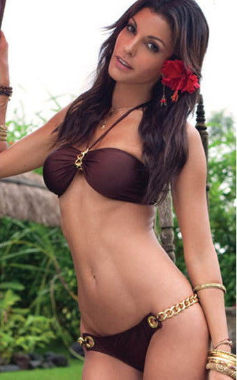 Brown Gold Chain Link Bandeau Bikini Set - IBL Fashion