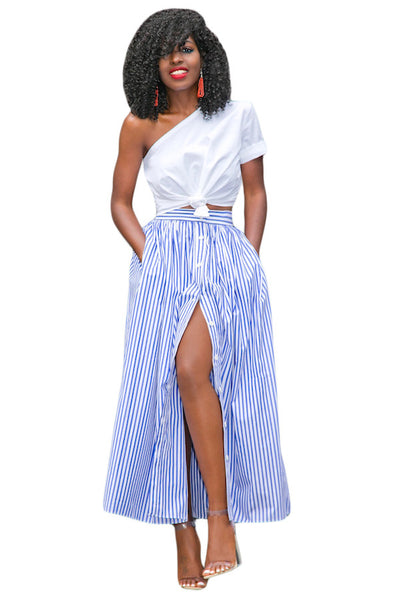Blue White Stripes Button Front Maxi Skirt - IBL Fashion - 1