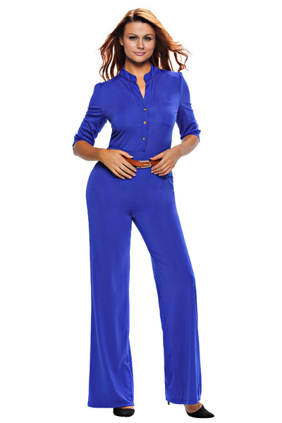 Half Sleeve Diva Fashion Wide Leg Jumpsuit 64205 - IBL Fashion - 1