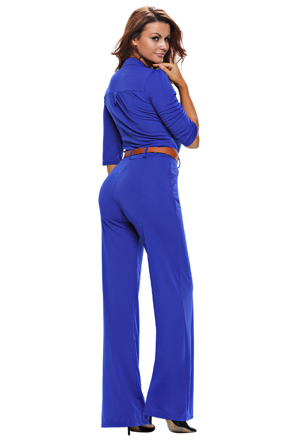 Half Sleeve Diva Fashion Wide Leg Jumpsuit 64205 - IBL Fashion - 3