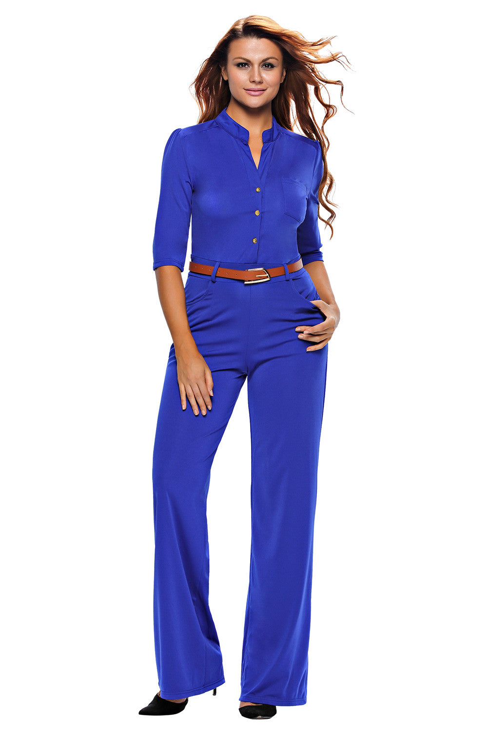 Half Sleeve Diva Fashion Wide Leg Jumpsuit 64205 - IBL Fashion - 4