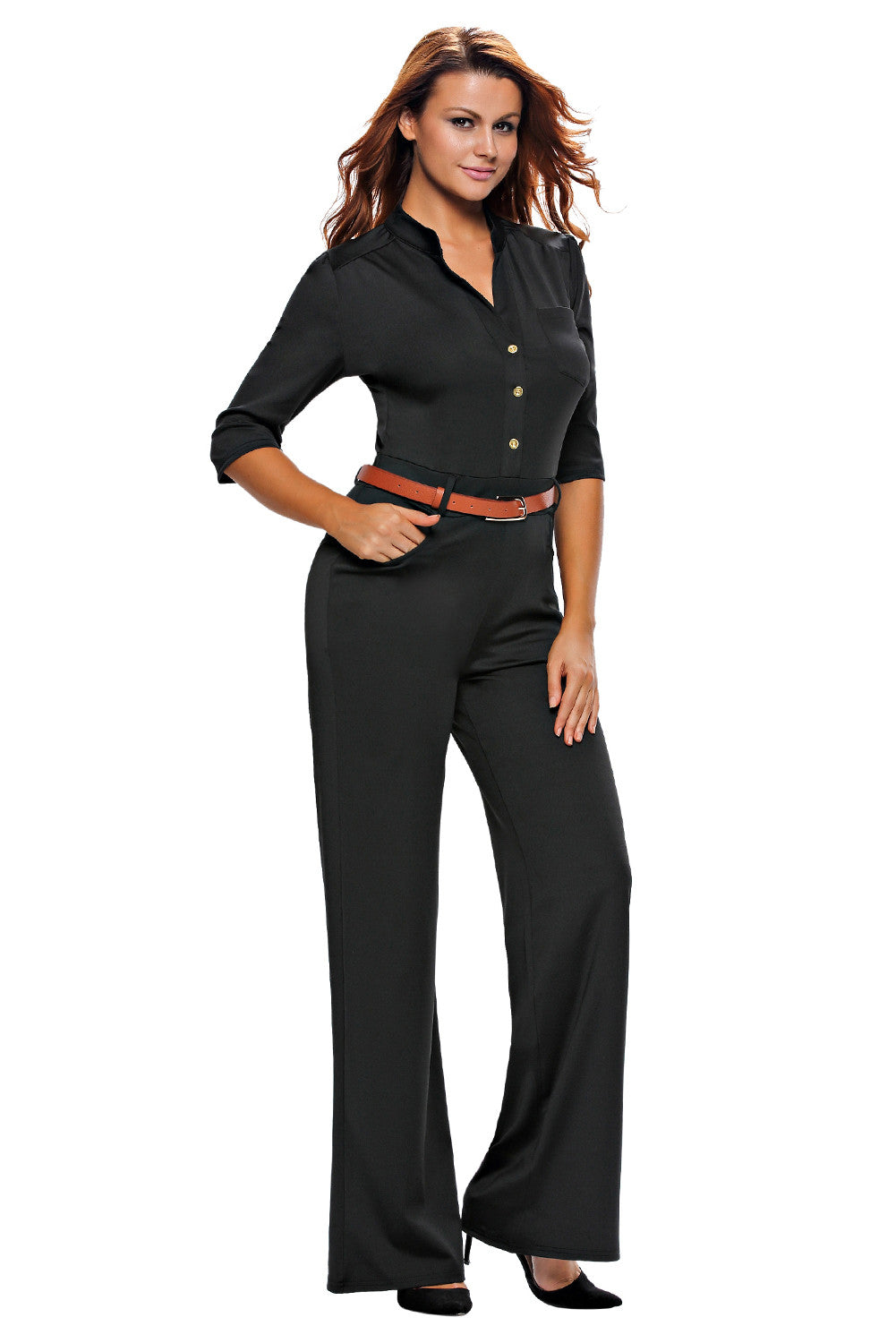 Half Sleeve Diva Fashion Wide Leg Jumpsuit 64205 - IBL Fashion - 5