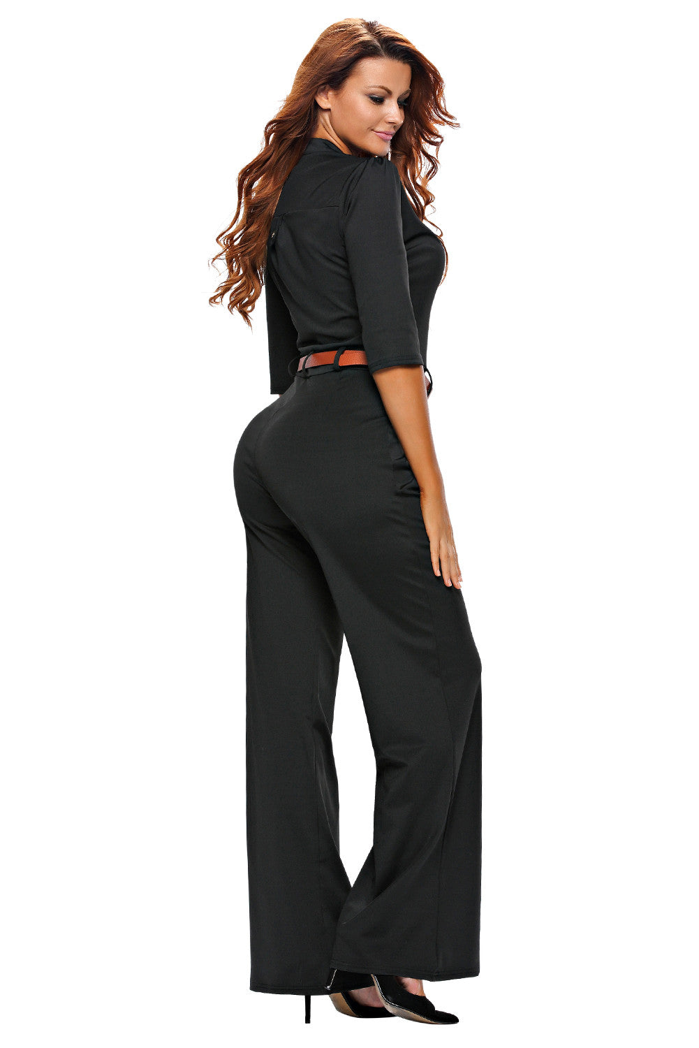 Half Sleeve Diva Fashion Wide Leg Jumpsuit 64205 - IBL Fashion - 6