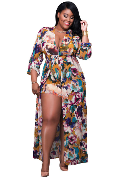 PLUS SIZE DIVA Long Sleeved Floral Romper Maxi Dress - IBL Fashion - 1