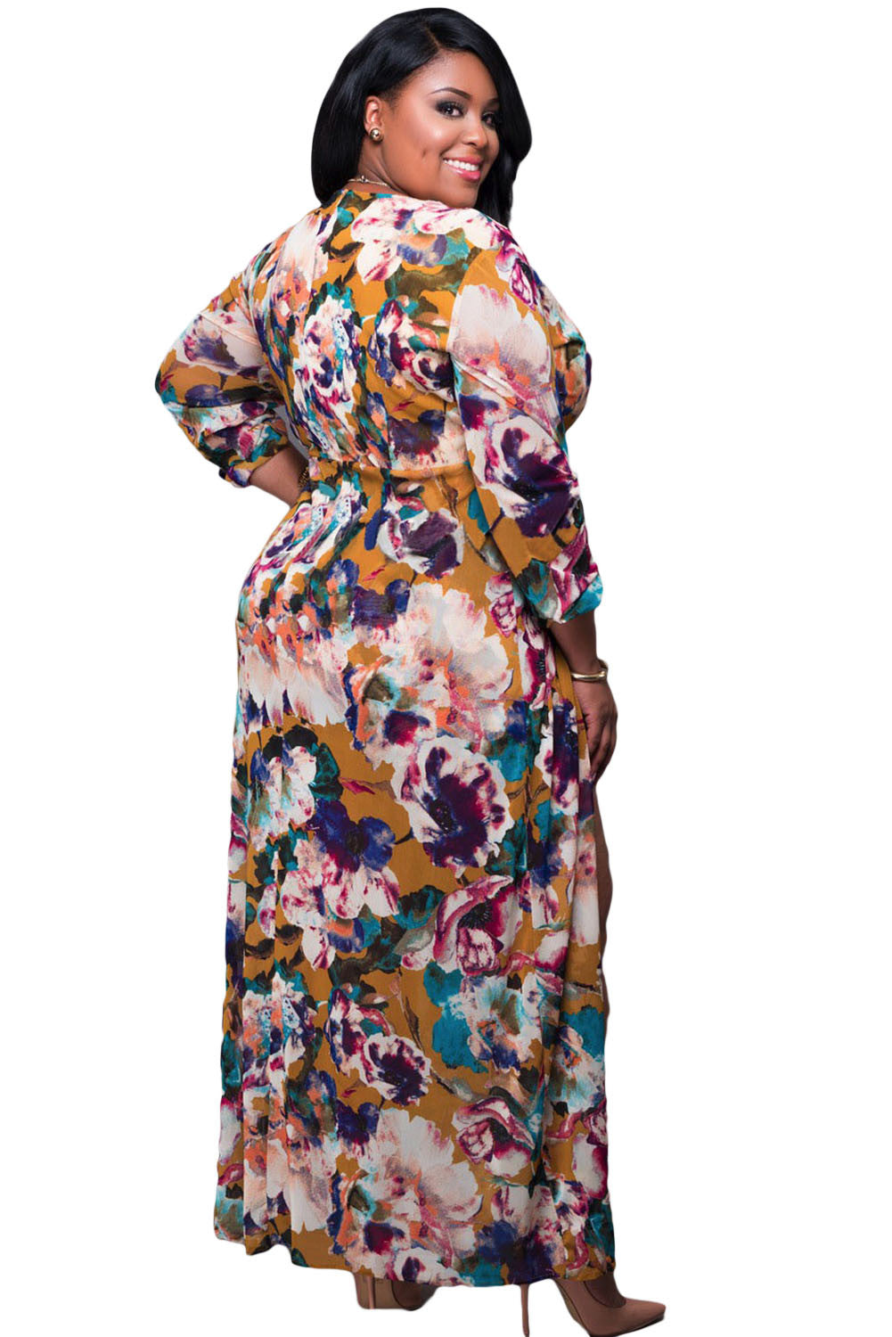 Plus Size Diva Long Sleeved Floral Romper Maxi Dress Ibl Fashion