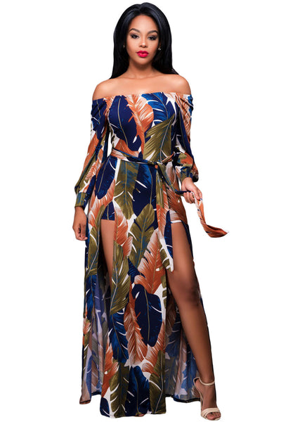 Off The Shoulder Floral Printed Romper Maxi Dress - IBL Fashion - 1