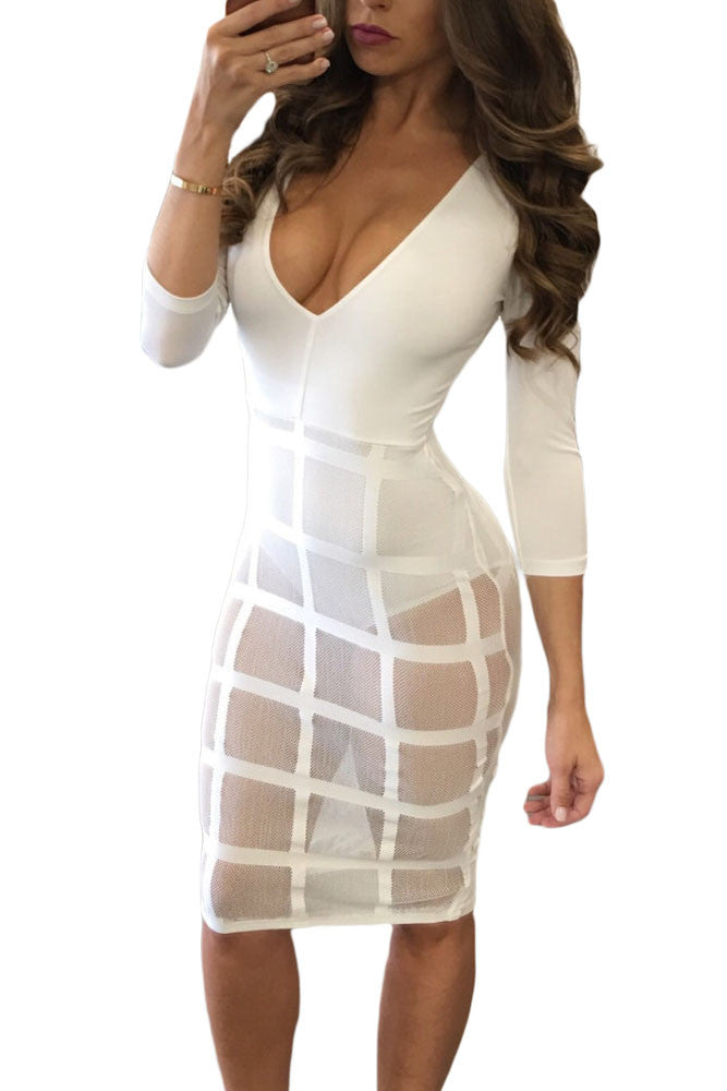 Celebrity Style Caged Skirt Long Sleeve Bodysuit Dress - IBL Fashion - 1
