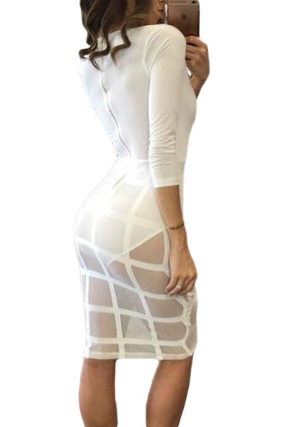 Celebrity Style Caged Skirt Long Sleeve Bodysuit Dress - IBL Fashion - 2