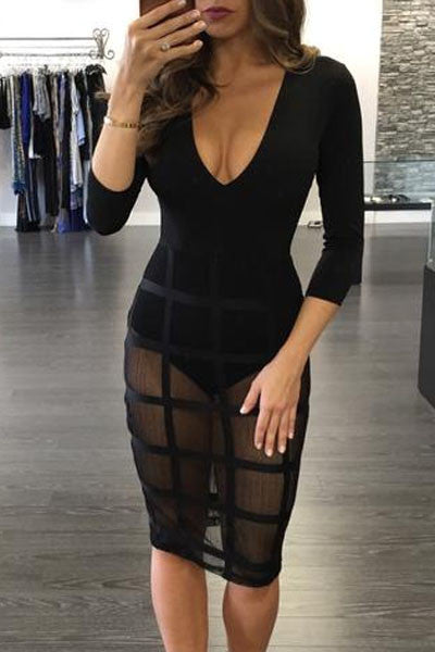 Celebrity Style Caged Skirt Long Sleeve Bodysuit Dress - IBL Fashion - 4
