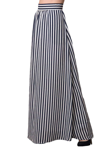 Vertical Black and White Striped Maxi Skirt