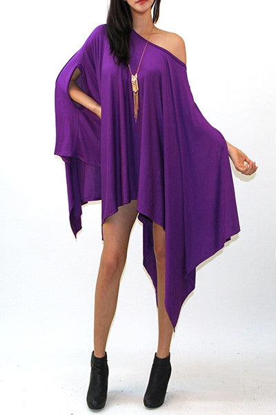 Oversized Sleeveless Poncho Draped Dress - IBL Fashion - 1