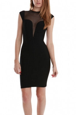 Celebrity Style Shear Deep Vee Top Bandage Dress-Black - IBL Fashion - 1