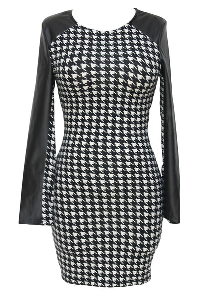 Faux Leather Long Sleeves Houndstooth Print Mini Dress 21913 - IBL Fashion - 1
