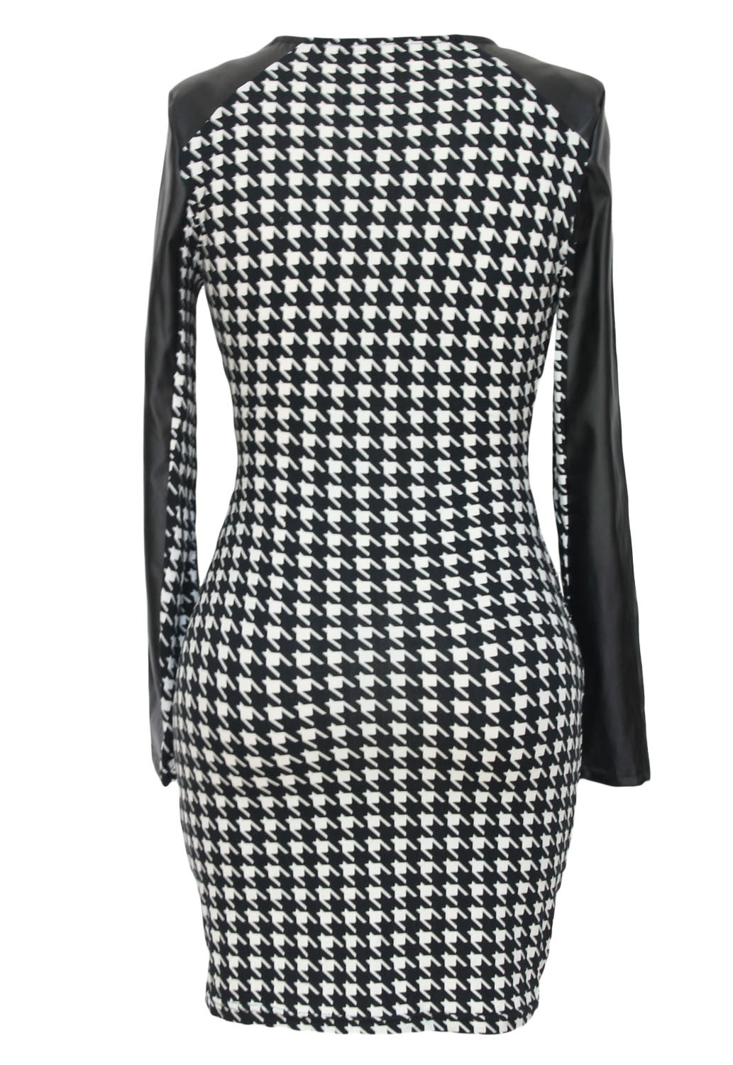Faux Leather Long Sleeves Houndstooth Print Mini Dress 21913 - IBL Fashion - 2