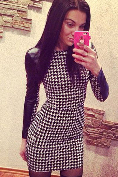 Faux Leather Long Sleeves Houndstooth Print Mini Dress 21913 - IBL Fashion - 3