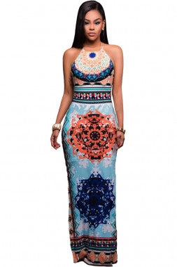 African Pattern Low Back Halter Maxi Dress