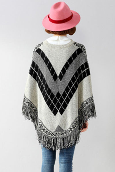 Fringe Batwing Patterned Poncho Pullover - IBL Fashion - 6