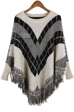 Fringe Batwing Patterned Poncho Pullover - IBL Fashion - 7
