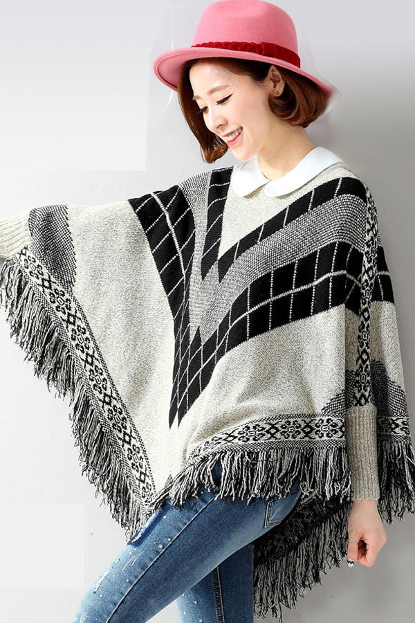 Fringe Batwing Patterned Poncho Pullover - IBL Fashion - 3