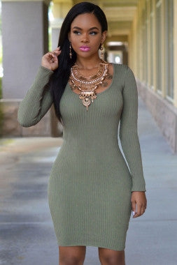 Cross Back Long Sleeve Ribbed Knit Sweater Dress - IBL Fashion - 6