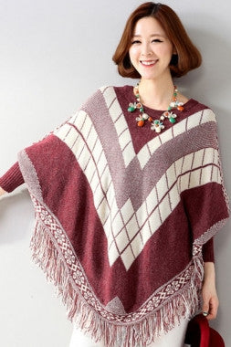 Fringe Batwing Patterned Poncho Pullover - IBL Fashion - 5