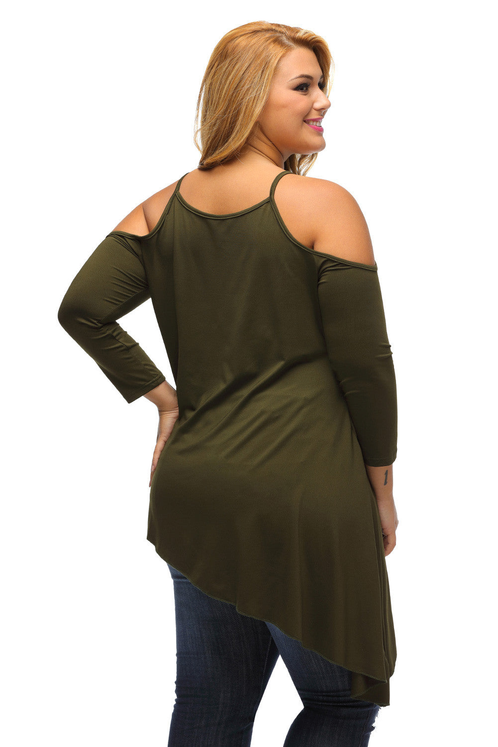 PLUS SIZE DIVA Asymmetric Ruffle Hem Cold Shoulder Top