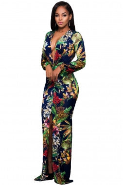 PLUS SIZE DIVA Long Sleeved Floral Romper Maxi Dress - IBL Fashion - 2