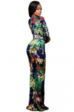 PLUS SIZE DIVA Long Sleeved Floral Romper Maxi Dress - IBL Fashion - 3