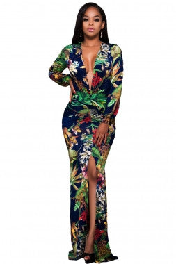 Plunging V Neck Floral Print Long Sleeve Maxi Dress - IBL Fashion - 1