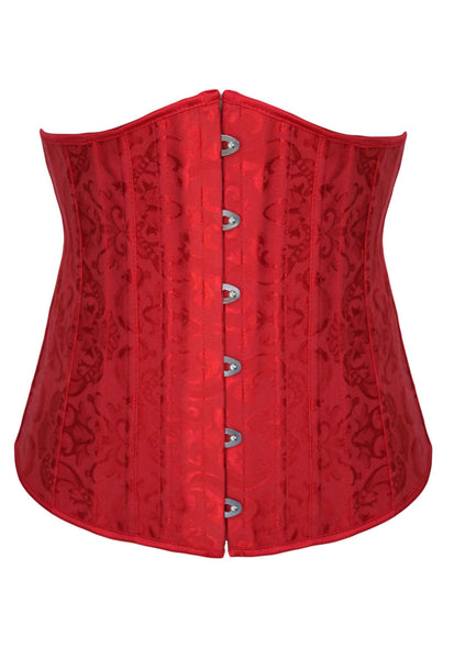 Red Jacquard Underbust Waist Trainer Corset with 24 Bones - IBL Fashion - 1