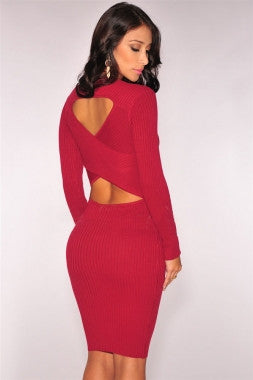 Cross Back Long Sleeve Ribbed Knit Sweater Dress - IBL Fashion - 5