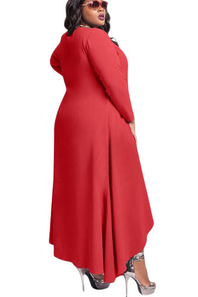 Plus Size DIVA Vee Neck Long Sleeve High Low Swing Dress - IBL Fashion - 2