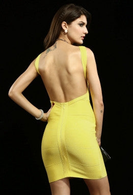 Celebrity Style Blunging Backout Bandage Dress-Yellow - IBL Fashion - 4