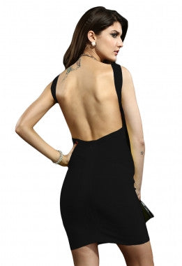Celebrity Style Blunging Backout Bandage Dress-Black - IBL Fashion - 2