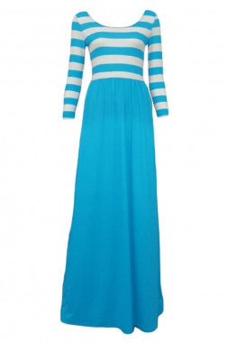 Striped Top Maxi Dress-Light Blue Skirt - IBL Fashion - 2