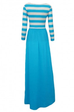 Striped Top Maxi Dress-Light Blue Skirt - IBL Fashion - 3