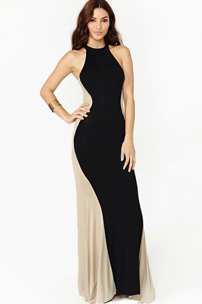 Hourglass Silhouette Two-tone Evening Dress - 6521 - IBL Fashion - 1
